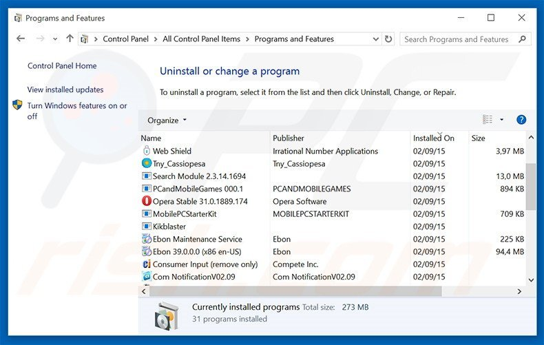 WhiteWindow adware uninstall via Control Panel