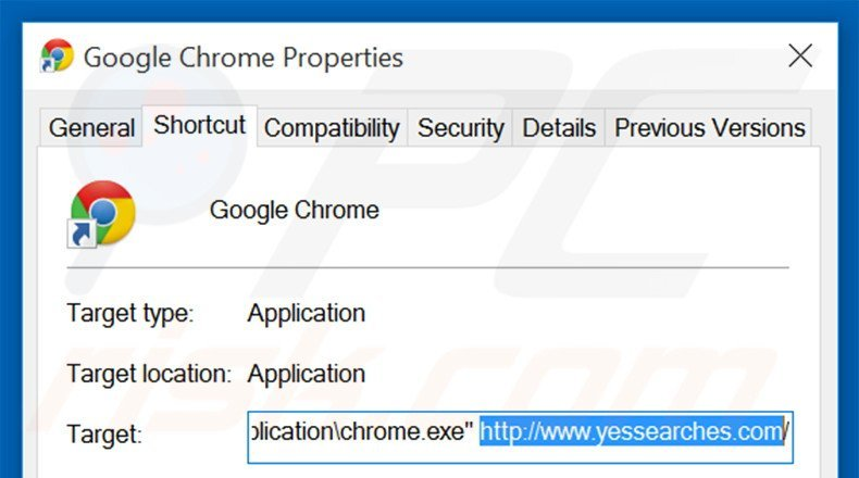 Removing yessearches.com from Google Chrome shortcut target step 2