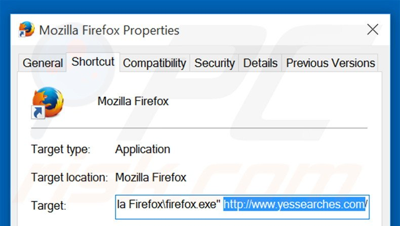 Removing yessearches.com from Mozilla Firefox shortcut target step 2