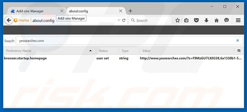 Removing yessearches.com from Mozilla Firefox default search engine