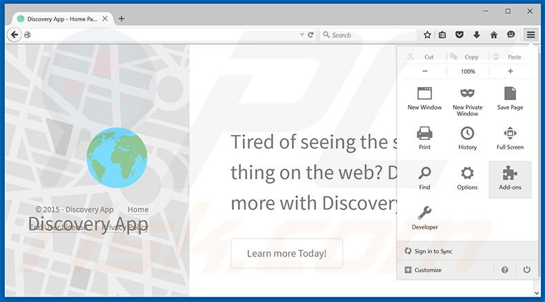 Removing Discovery App ads from Mozilla Firefox step 1
