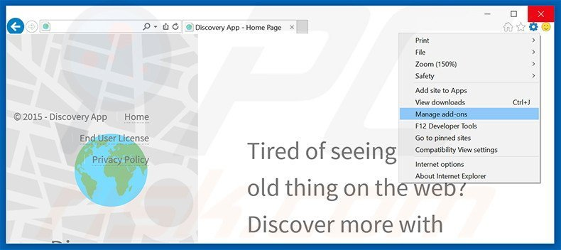 Removing Discovery App ads from Internet Explorer step 1