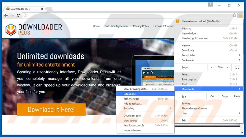 Removing DownloaderPlus ads from Google Chrome step 1