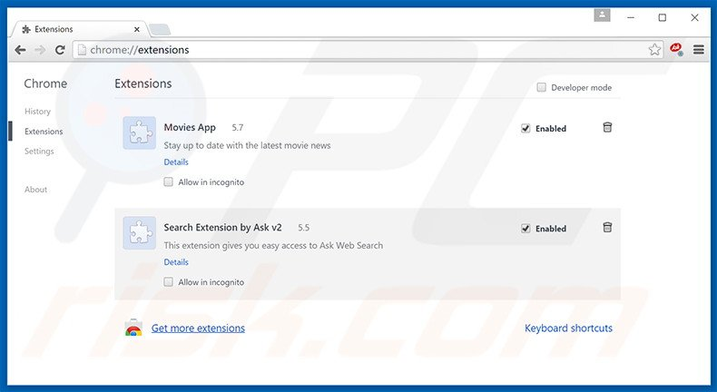 Removing DownloaderPlus ads from Google Chrome step 2