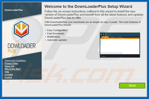 Official DownloaderPlus adware installation setup