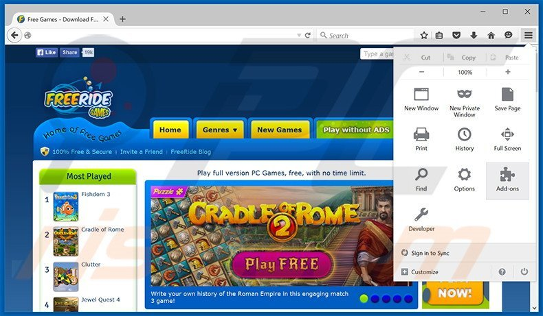 Removing Free Ride Games Player ads from Mozilla Firefox step 1