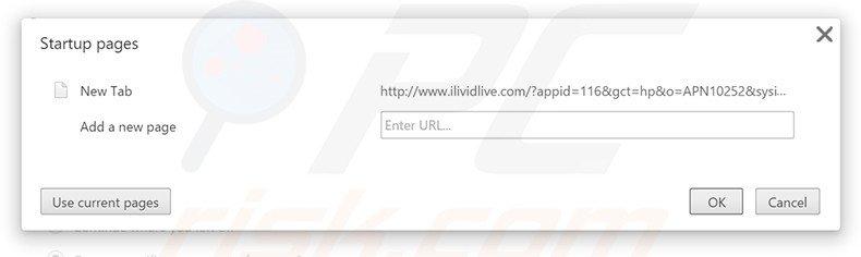 Removing ilividlive.com from Google Chrome homepage