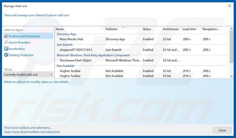 Removing ilividlive.com related Internet Explorer extensions
