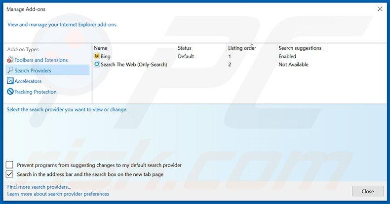 Removing ilividlive.com from Internet Explorer default search engine