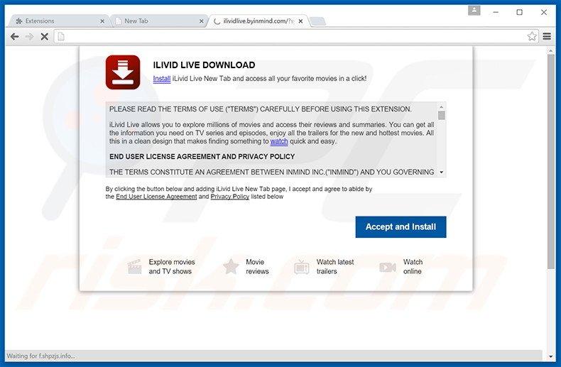 Website used to promote ilividlive.com browser hijacker