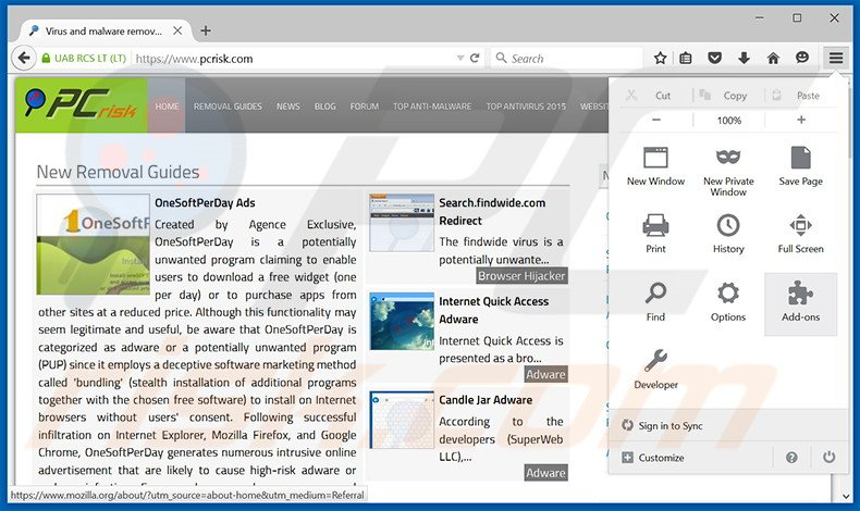 Removing Olcinium Browser ads from Mozilla Firefox step 1