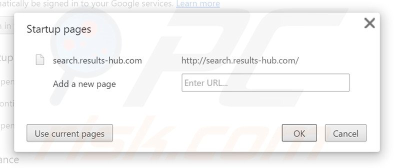 Removing search.results-hub.com from Google Chrome homepage