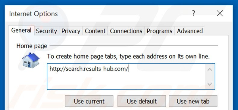 Removing search.results-hub.com from Internet Explorer homepage