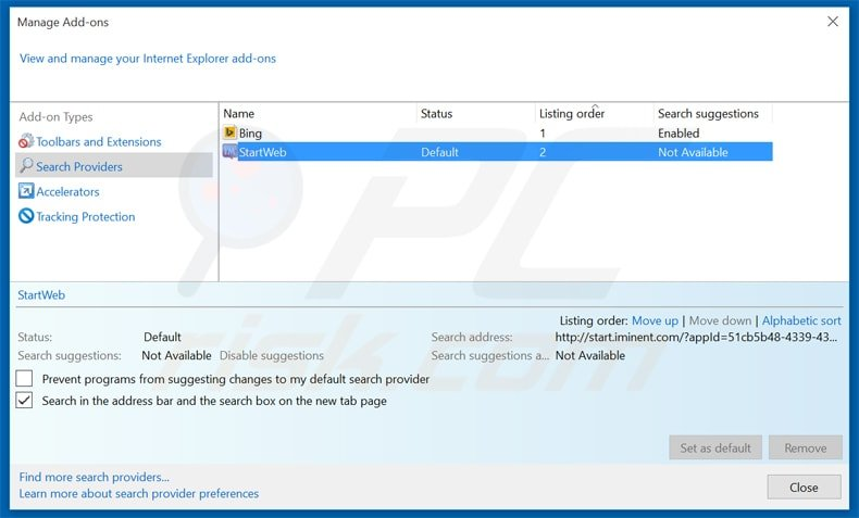 how to set search engine in internet explorer