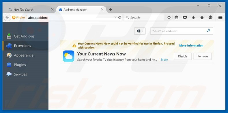 Removing search.yourcurrentnewsnow.com related Mozilla Firefox extensions