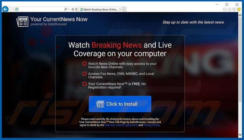 Website used to promote Your Current News Now browser hijacker
