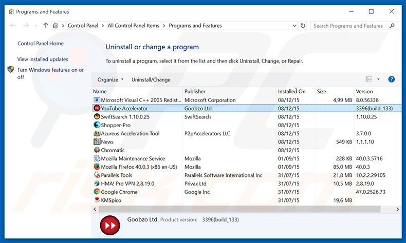 Sense adware uninstall via Control Panel