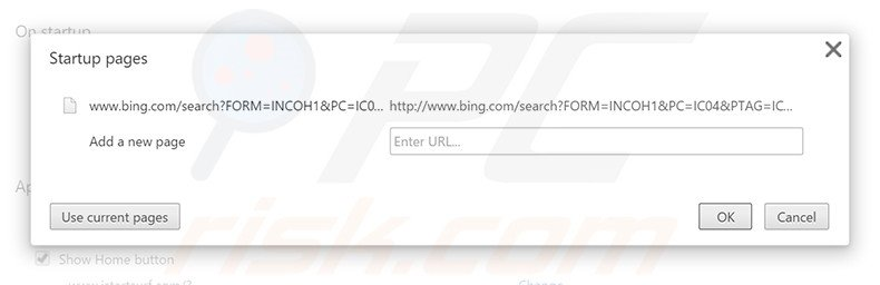Removing bing.com from Google Chrome homepage