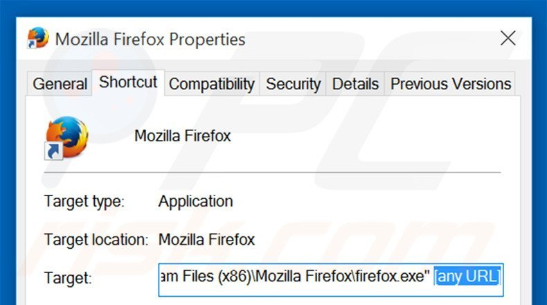 Removing bing.com from Mozilla Firefox shortcut target step 2