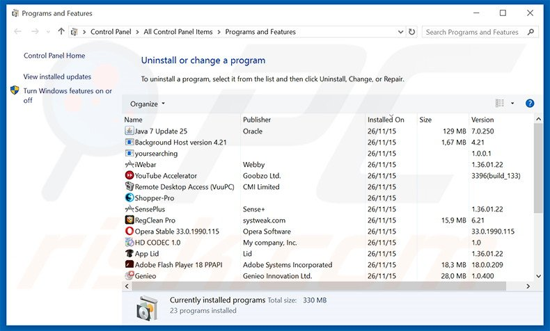 bing.com browser hijacker uninstall via Control Panel