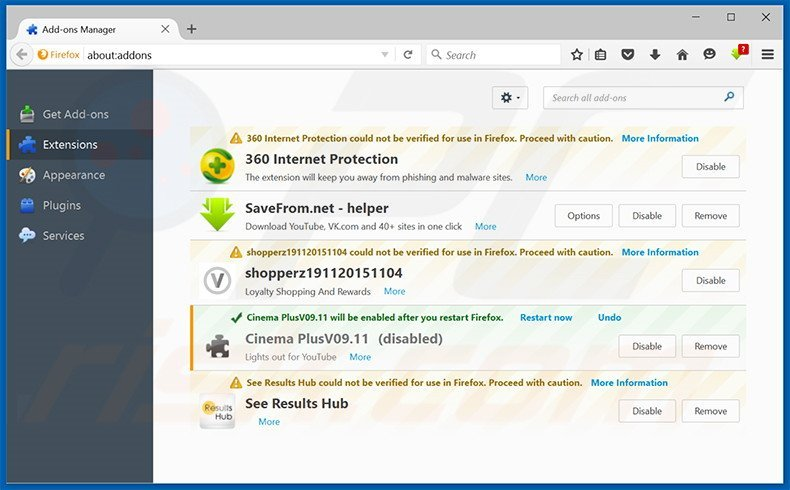 Removing Chromium ads from Mozilla Firefox step 2