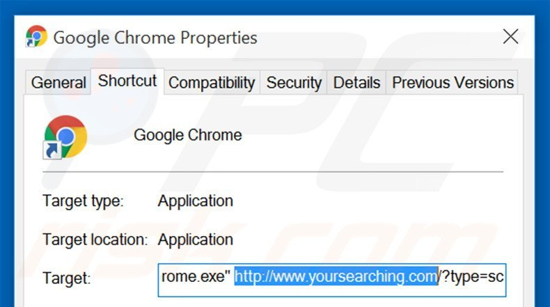 Removing do-search.com from Google Chrome shortcut target step 2