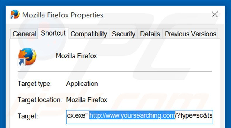 Removing do-search.com from Mozilla Firefox shortcut target step 2