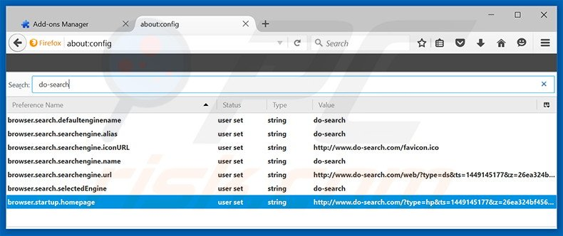 Removing do-search.com from Mozilla Firefox default search engine