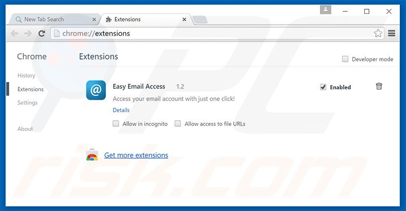 Removing search.easyemailaccess.com related Google Chrome extensions