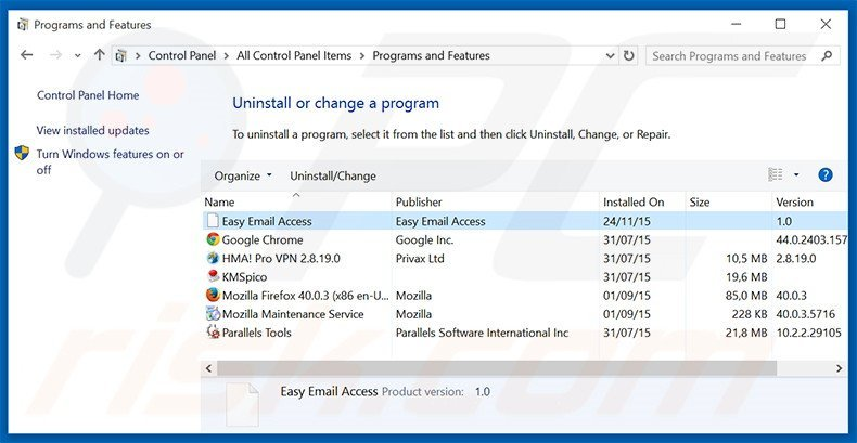 search.easyemailaccess.com browser hijacker uninstall via Control Panel