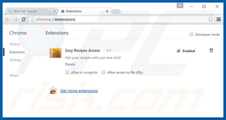 Removing search.easyrecipesaccess.com related Google Chrome extensions
