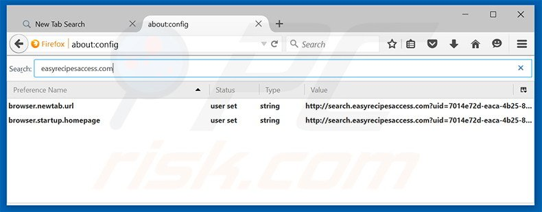 Removing search.easyrecipesaccess.com from Mozilla Firefox default search engine