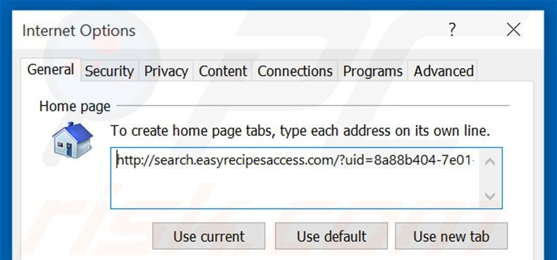 Removing search.easyrecipesaccess.com from Internet Explorer homepage