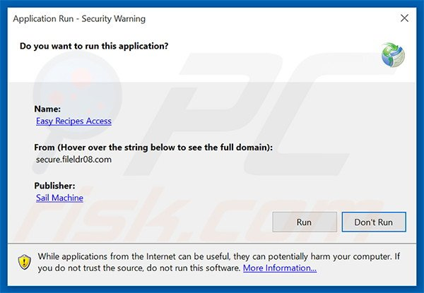Official Easy Recipes Access browser hijacker installation setup