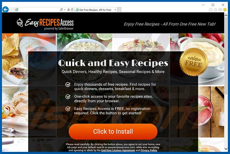 Website used to promote Easy Recipes Access browser hijacker