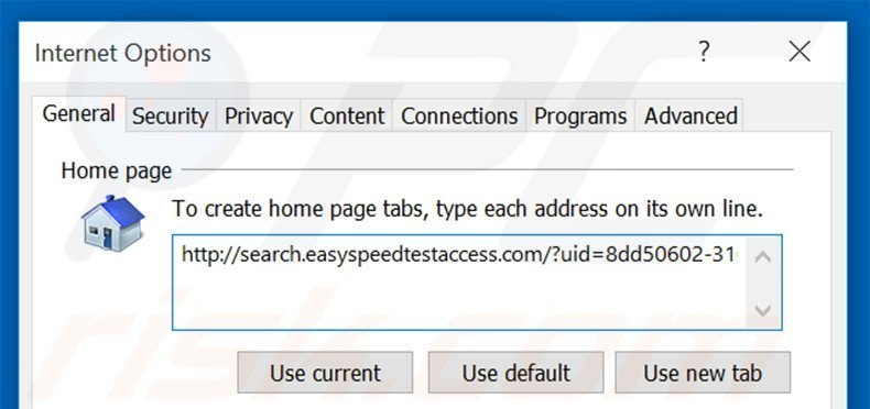 Removing search.easyspeedtestaccess.com from Internet Explorer homepage
