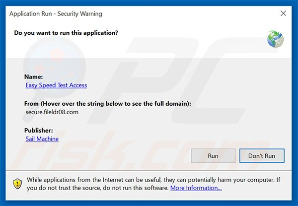 Official Easy Speed Test Access browser hijacker installation setup