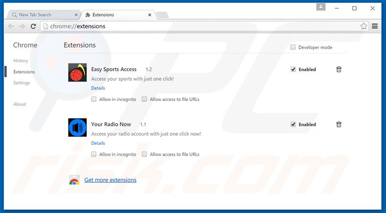 Removing search.easysportsaccess.com related Google Chrome extensions