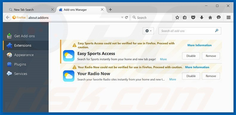 Removing search.easysportsaccess.com related Mozilla Firefox extensions