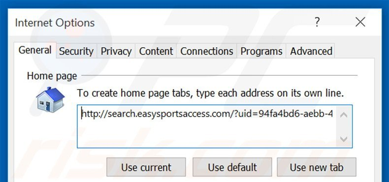 Removing search.easysportsaccess.com from Internet Explorer homepage