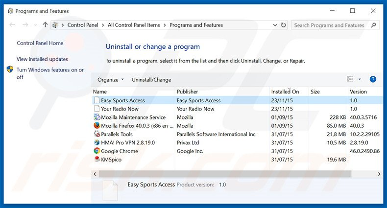 search.easysportsaccess.com browser hijacker uninstall via Control Panel