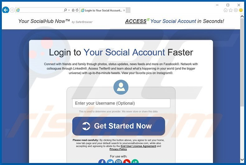 Website used to promote Your Social Hub Now browser hijacker