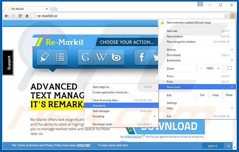 Removing Re-Markit  ads from Google Chrome step 1