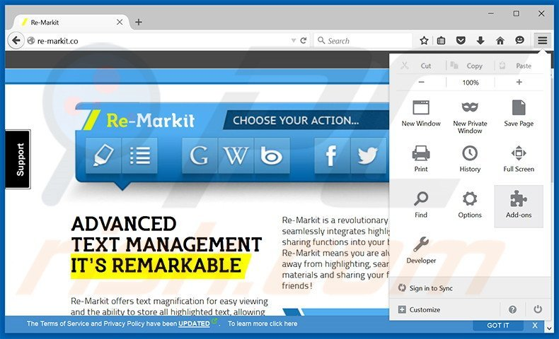 Removing Re-Markit ads from Mozilla Firefox step 1
