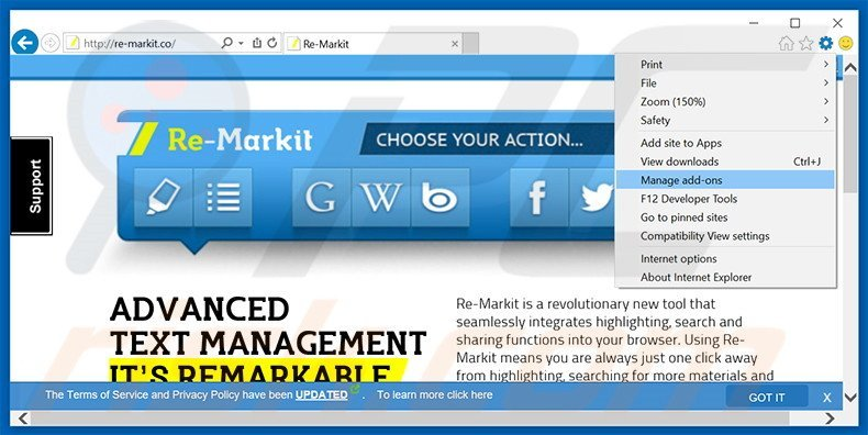 Removing Re-Markit ads from Internet Explorer step 1