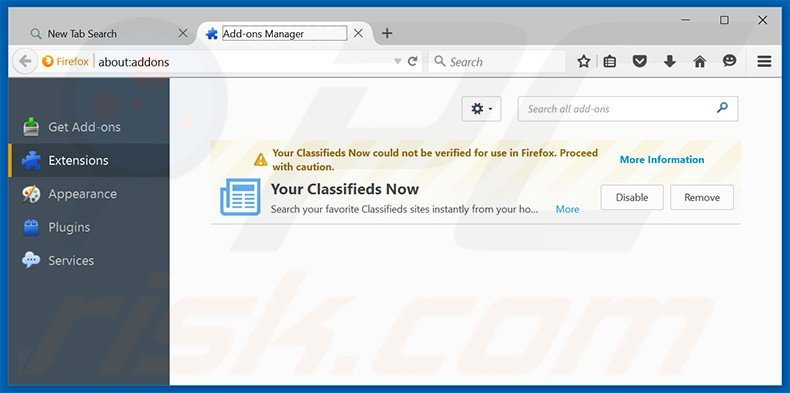 Removing search.yourclassifiedsnow.com related Mozilla Firefox extensions