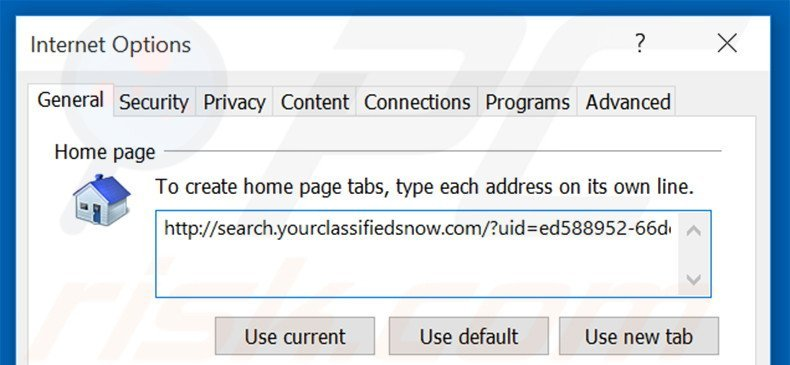 Removing search.yourclassifiedsnow.com from Internet Explorer homepage