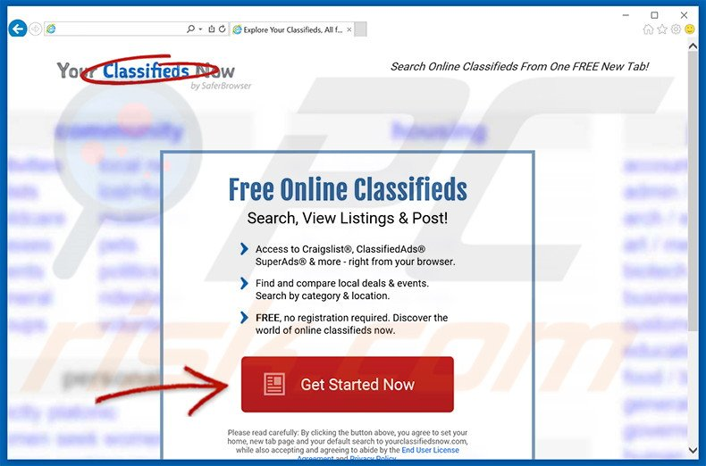 Website used to promote Your Classifieds Now browser hijacker
