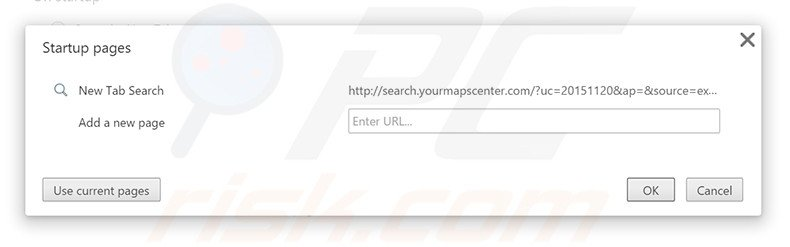 Removing search.yourmapscenter.com from Google Chrome homepage