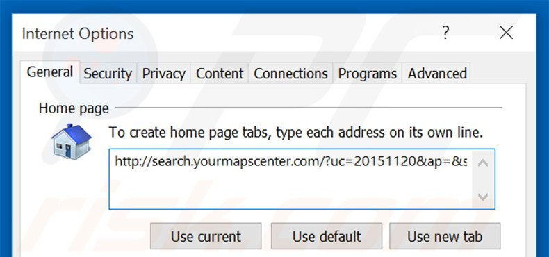 Removing search.yourmapscenter.com from Internet Explorer homepage